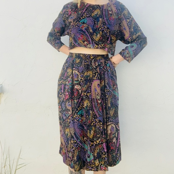 SOLD VTG 1980 Paisley Skirt Set with Matching Mask